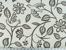 Drapery Upholstery Fabric Modern Printed Cotton Floral / Bird Design - Charcoal
