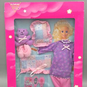 Barbie Slumber Party Fashions Pajamas Slippers Pillow Teddy Bear Mattel 68221-94
