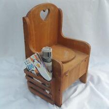 Vintage Wood Heart Toddler Potty Child's Custom Toilet Chair Seat Magazine Rack