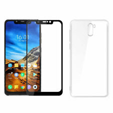 Coque silicone transparente + verre trempé contour noir Xiaomi Pocophone F1