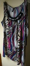Essentials Geo Multi Striped Occasion Sleevless Fushia Polyester Blend Top Sz M