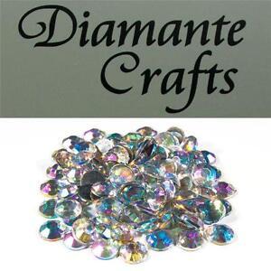 100 x 9mm Clear Iridescent Diamante Loose Flat Back Rhinestone Vajazzle Gems