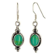 Slender Dangle Oval Earrings Beaded Sterling Silver Not Enhanced Turquoise