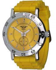 Minoir - Modell Avord - gelbe Unisexuhr mit Silikonuhrarmband, Damenuhr, 55 mm