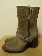 Born Camryn Taupe Marmotta Distressed Suede Leather High Heel Boots Size 9 NWB