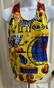 Louis Garneau Cycling Jersey shirt Womens L Yellow Colorful Tank Racerback