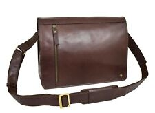 969dcf3fd1 Mens Real Leather Shoulder Bag Laptop Organiser Casual Cross Body Satchel  Brown