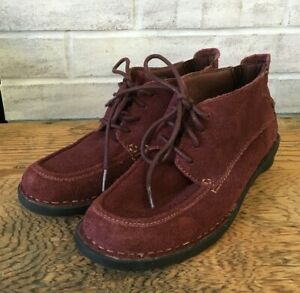 Clarks Womens Wine Purple Suede Leather Ankle Boots Nikki Class Tie Booties 7 M