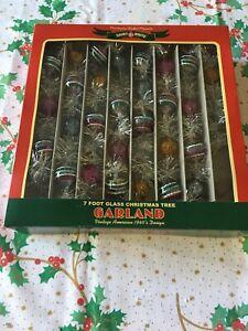 Christopher Radko Shiny Brite 7 Foot Glass & Tinsel Christmas Tree Garland