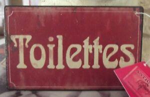 Plaque de porte «toilettes» rouge 12*7,5 cm