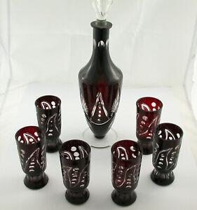 Karaffe Kristall Glas 6 Gläser bordeaux rot antik vintage geschliffen Wein top