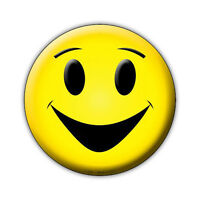 """Novelty Sign - Happy Face, Smile Face, Don't Worry Be Happy - 12"""" Round Metal"""