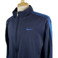 Nike Mens Track Jacket Warm Up Medium Navy Blue Full Zip Swoosh Athletic Fitness