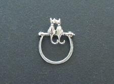 Vintage 925 Sterling Silver Eyeglass Holder Loop / Pin Brooch, Pair of Cats