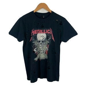 Topshop And Finally Metallica T-Shirt Size Small Black Short Sleeve Hole Design