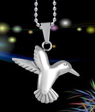New Hummingbird Cremation Bird Pendant Ash Holder Silver Memorial Necklace