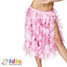 PINK FLOWERS HAWAIIAN HULA SKIRT childs girls luau fancy dress costume accessory