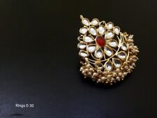 Indian Bollywood Fashion Party Wear Gold Plated Adjustable Size Kundan Rings E42