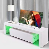 High Gloss White TV Stand Unit Cabinet Console with LED Light Shelves& Drawer