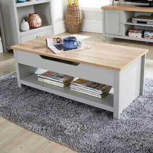 Grey Oak Coffee Table Lift Up Occasional Reception Storage Shelf Avon