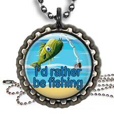 I'd Rather Be Fishing Bottle Cap Necklace & Chain Handmade Kids Fun Gift