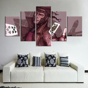 5 Panel Framed Anime Poker Cards Modern Decor Canvas Wall Art HD Print