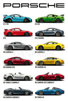 """Porsche 911 Evolution Poster 48x32"""" 27x40"""" 36x24 Sport Car GT Carrera Print Silk"""