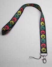 Black WEED Marijuana Leaf Pot 420 LANYARD KEY CHAIN Ring Keychain ID Holder NEW