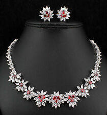 Cluste Red CZ Cubic Zirconia Crystal Necklace Earrings Set Rhodium Plated CZ906r
