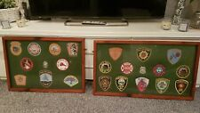 More details for framed vintage collection of rare cloth usa fire brigade patches/badges