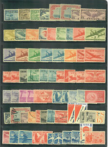 US AIR MAIL COLLECTION of USED and UNUSED STAMPS, MOSTLY MINT / LH on Stock Page