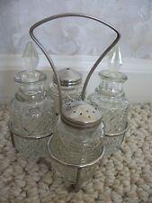 Cut-Glass Condiment/Cruet Set Vintage (#0541)