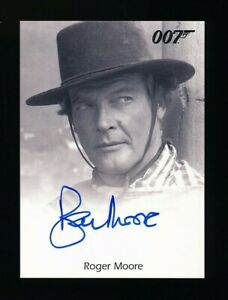 JAMES BOND Archives Roger Moore full bleed autographed card signed 2012 => NICE