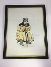 Russian Cossack Watercolor Painting Signed Framed Art Work Russia
