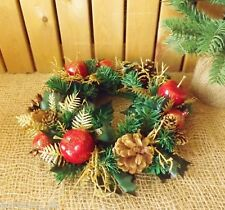 Christmas Candle Ring / Small Wreath Decoration Green Gold Cone Berry & Apple