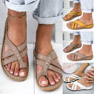 Women Orthopedic Slide Ring Toe Sandals Slip On Flip Flop Summer Shoe Sizes