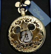 Disney Pocket Watch Unique Mickey Mouse Hunt Case Open Style W/ Chain Retired