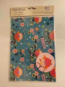 Cute Owl with hoots of love on your birthday Flower Gift Wrap 2 sheets & 2 tags