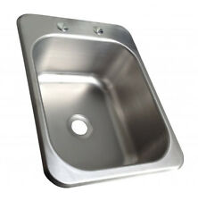 Counter Top Sunk Inset Stainless Steel Hand Wash Basin Sink Waste Plug & Tap