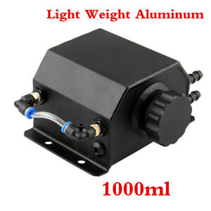 Universal Black 1L Aluminum Coolant Radiator Overflow Recovery Water Tank Bottle