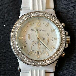 Michael Kors Bel Aire Womens Watch Chronograph Date Rhinestones Silver MK-5392