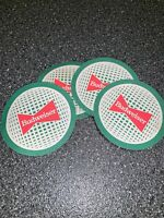 Lot Of 4 Vintage Cardboard Round Coasters Budweiser Green Red Bar Mancave Old