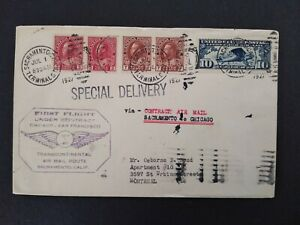Ca: Sacramento 1927 07/01 Special Delivery Flight Cover, Tied Canadian Stamps
