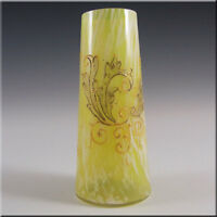 Bohemian Yellow & White Spatter Glass Vase, Enamelled / Hand Painted