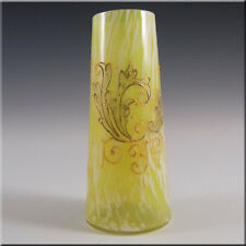 Moser or Welz Bohemian Yellow/White Spatter Glass Vase #2