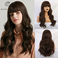 Long Dark Brown Wavy Synthetic Hair Wigs with Natural Bangs Party Wigs for Women