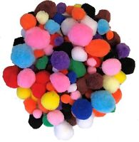 100 Craft Pom Poms Fluffy Balls Mixed Colours Sizes Pack Pompoms Children