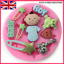 "Silicone ""Baby Shower"" Hands+feet Mould Cake Decoration for Newborn, Christening"