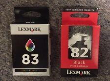 Lexmark 82 Black & 83 Tri-Color Ink Cartridge Set 18L0032 18L0042 Genuine New