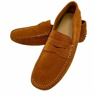Tod's Gommino Men's Driving Shoes Burnt Orange Contrast Stitching Penny Bar NWOB